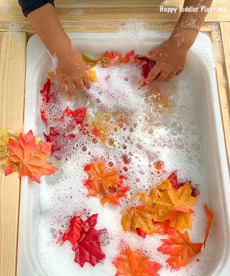 Fall bubble foam sensory bin
