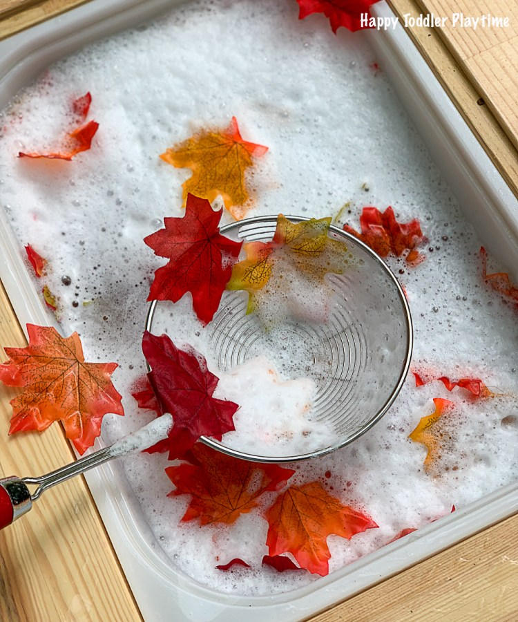 an easy sensory bin for toddler to do during Fall