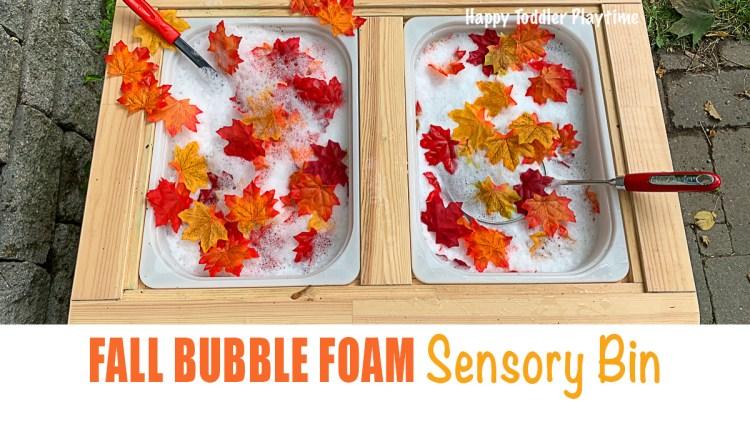 Fall bubble foam sensory bin