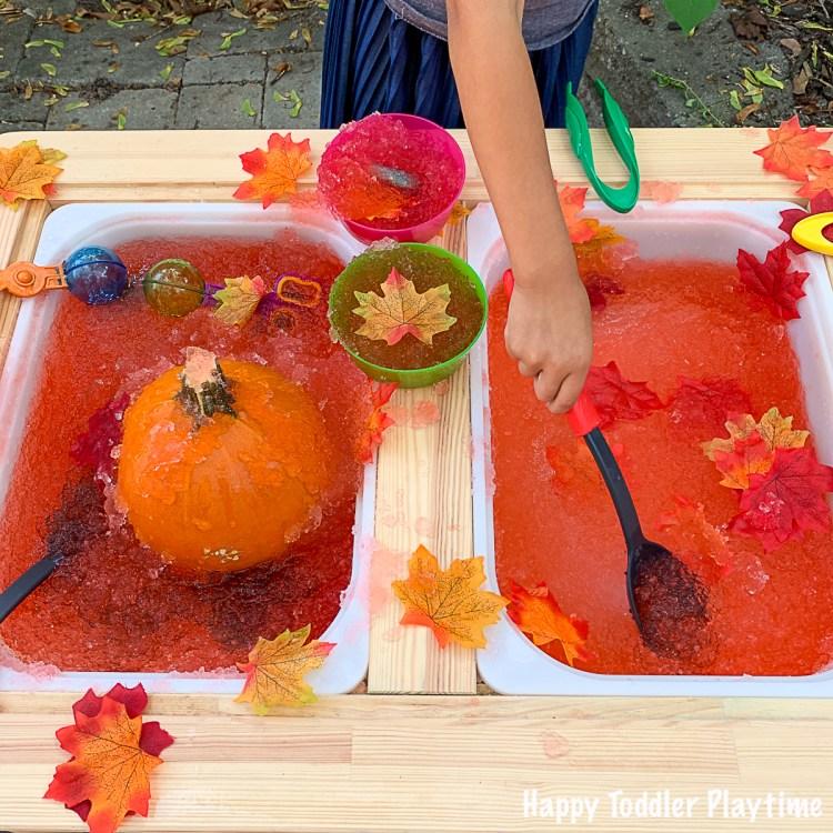 Autumn Slime goo sensory bin