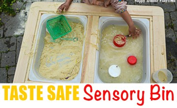 toddlers playing in baby safe sensory bin