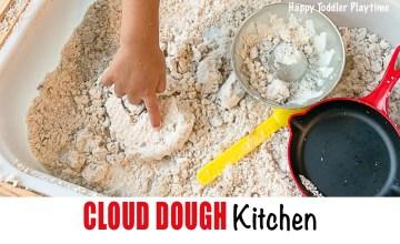 Cloud dough kitchen sensory bin for toddlers and preschoolers