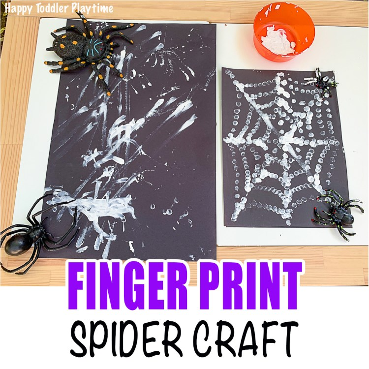 Finger print spider web craft for toddlers and preschoolers
