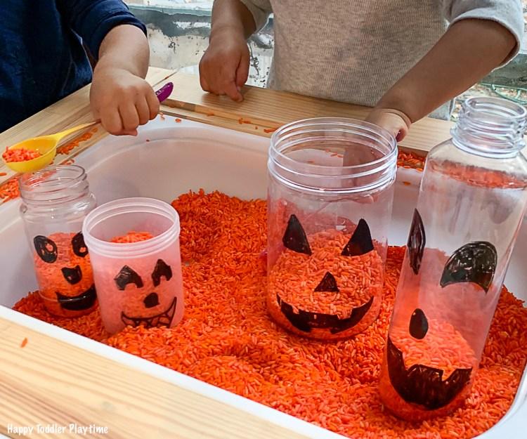Jack-o-Lantern Sensory Bin for Toddlers