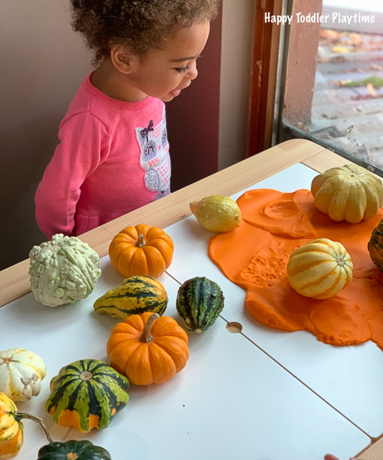 Pumpkins and Play Dough Invitation for toddlers and preschoolers