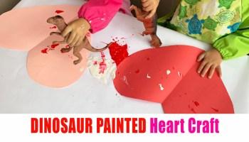 Dinosaur painted hearts craft