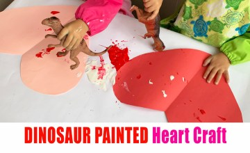 Dinosaur painted hearts craft