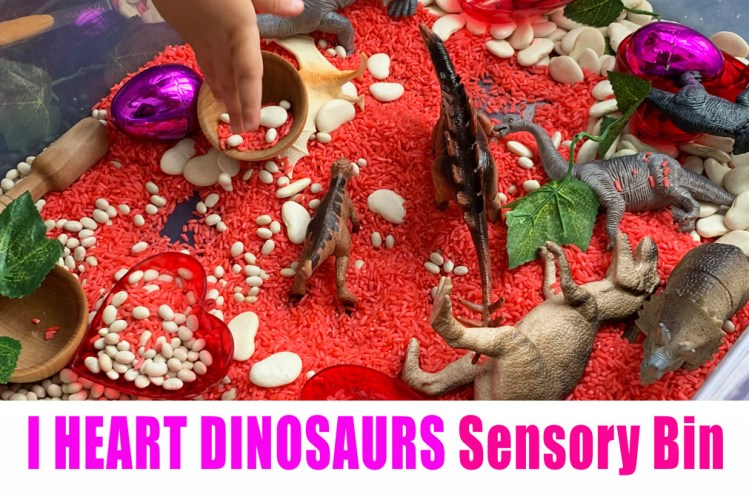 Dinosaur sensory bin for Valentine's Day