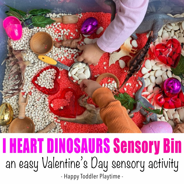Dinosaur Sensory Bin for Valentine's Day