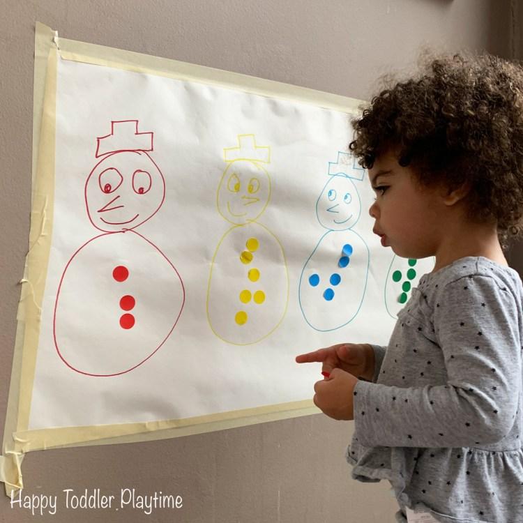 Snowman Sticker Sort winter toddler activity indoor activity