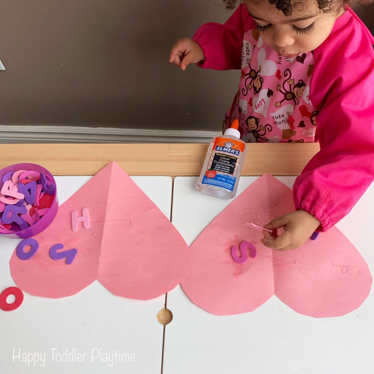 Valentines Day Gluing Activity fine motor activity for toddlers