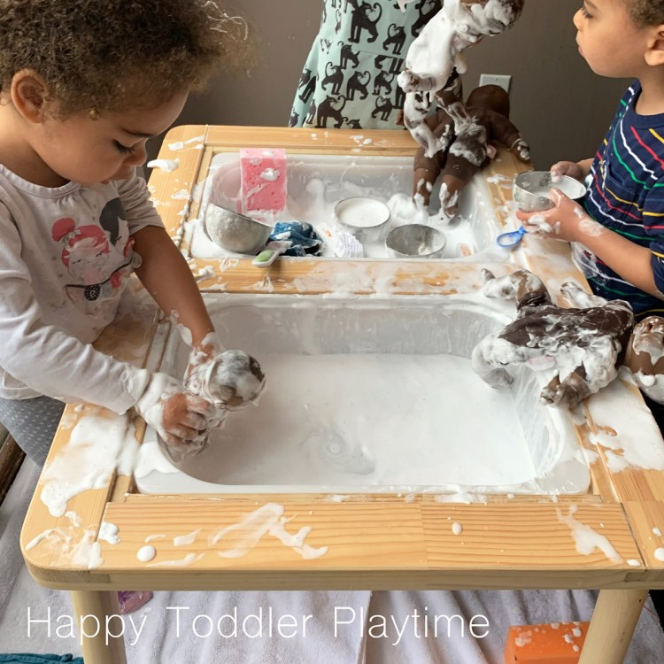 shaving cream and baby dolls sensory play activity for toddlers and preschoolers and kindergartners