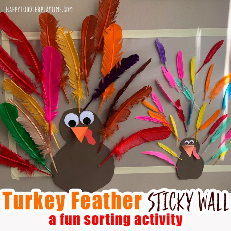 turkey feather sort thanksgiving activity for toddlers