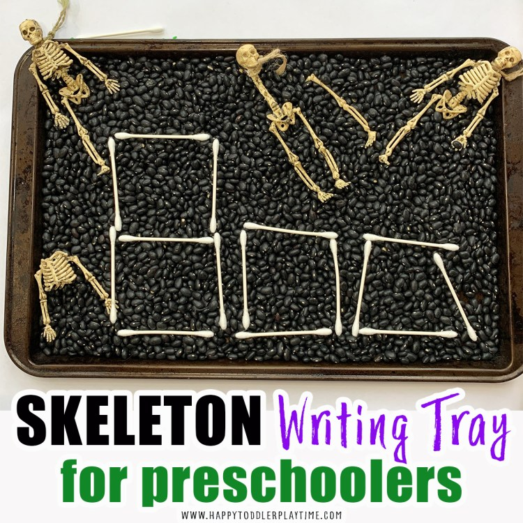 halloween writing tray for preschoolers