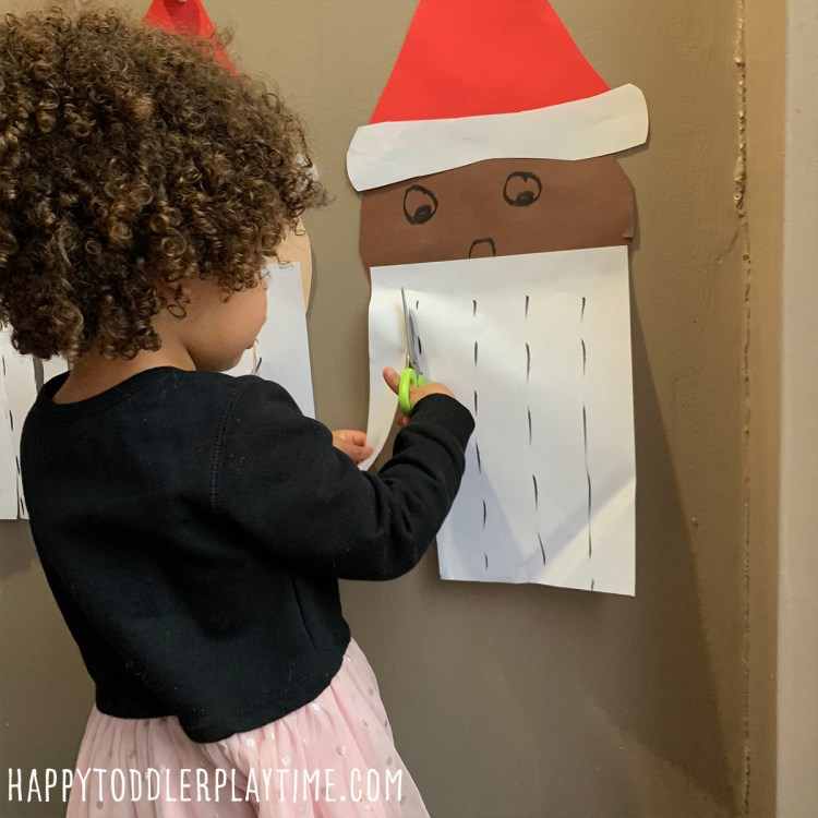 Cut Santa's Beard Activity cutting activity for toddlers and preschoolers
