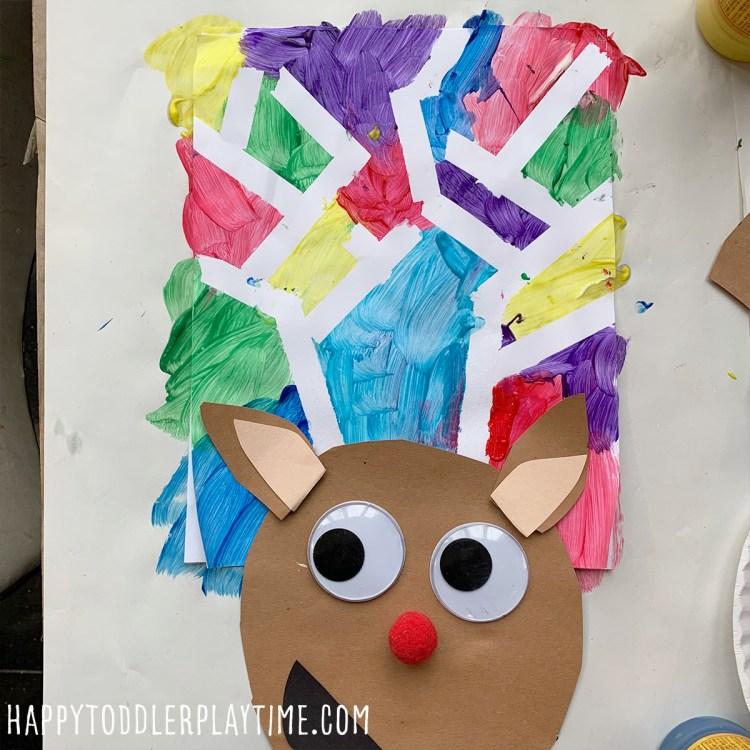 Tape Resist Reindeer Craft