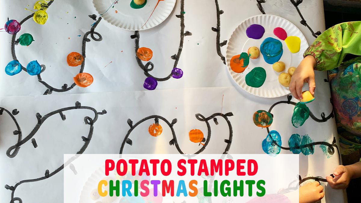 Potato Stamped Christmas Lights Activity
