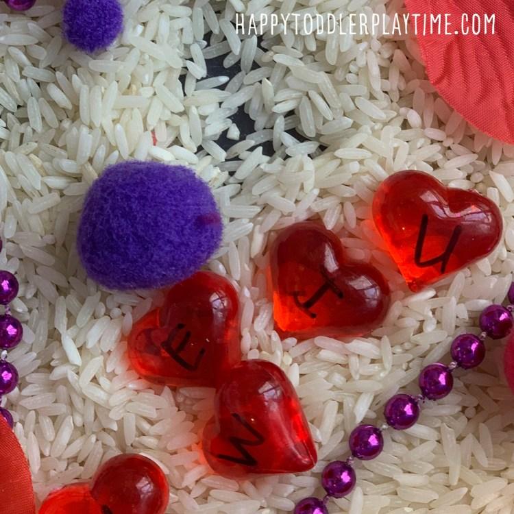 Heart Letter Match Sensory Bin