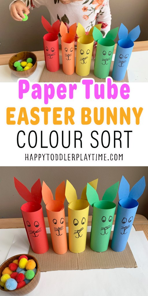 Paper Tube Easter Bunny Colour Sort for Toddlers