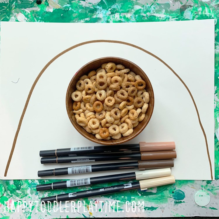 Brown Rainbow Craft using Cheerios