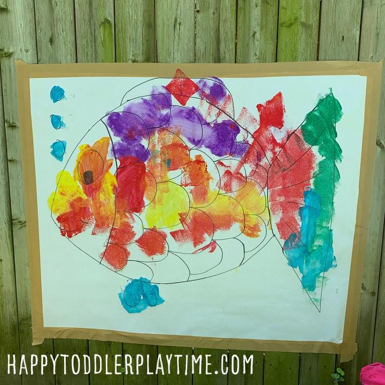 Sponge Painted Fish: Outdoor Summer Art