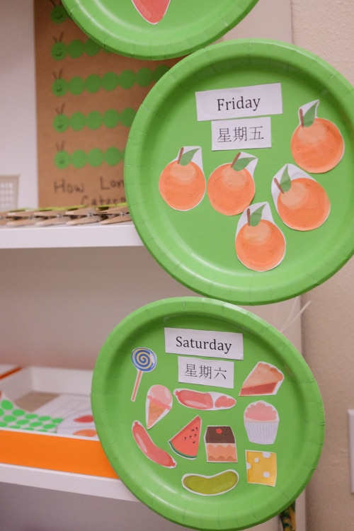 The Very Hungry caterpillar Food and Days of the Week activity
