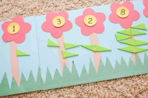 Leaf counting flower theme counting activity