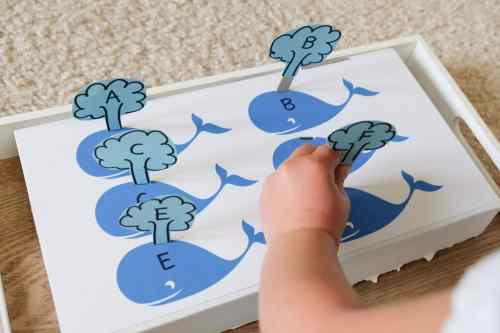 Whale Water Sprout Letter Matching Toddler Learning Activity