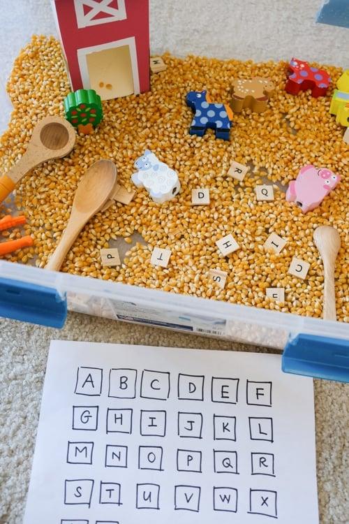 Farm theme corn sensory bin letter search