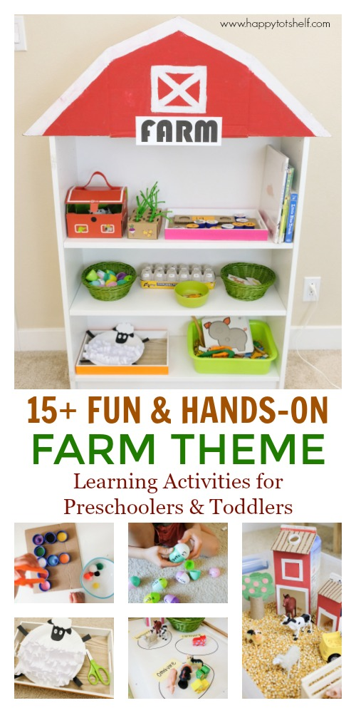 Farm theme learning activities and shelf