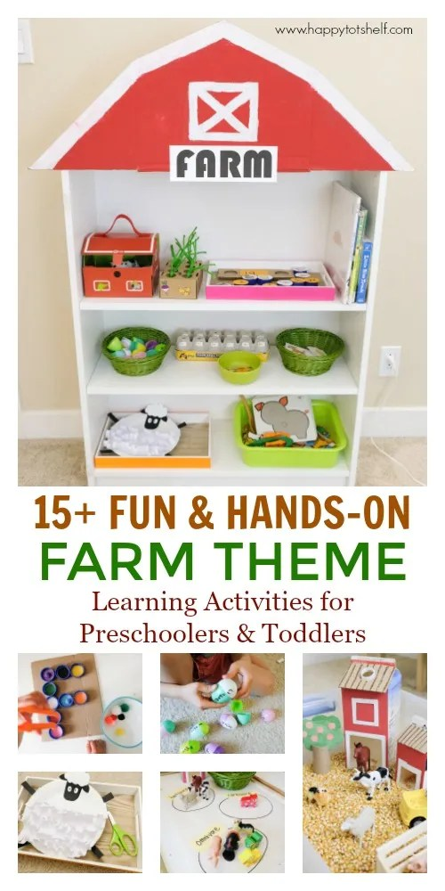 Farm theme preschool activities and shelf