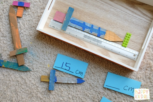 Measuring swords castle theme activities for kids