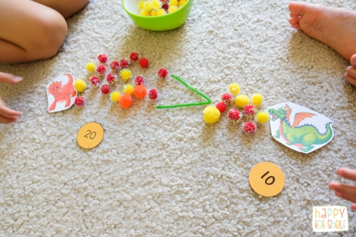 Dragon fireball pom pom counting activity