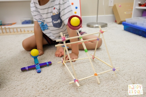Making catapult with chopsticks