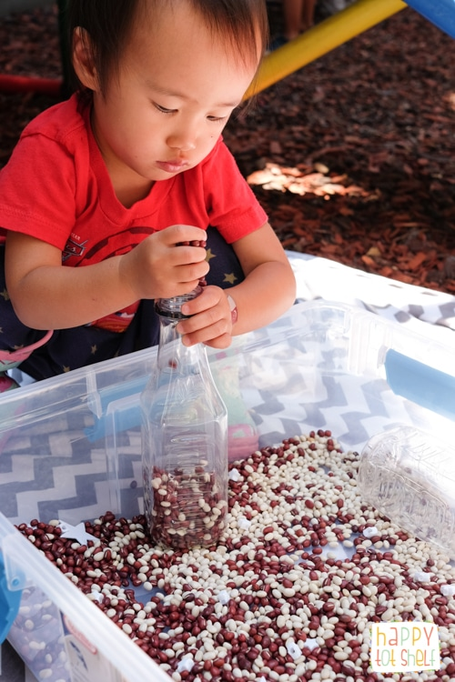 Singapore flag bean sensory bin