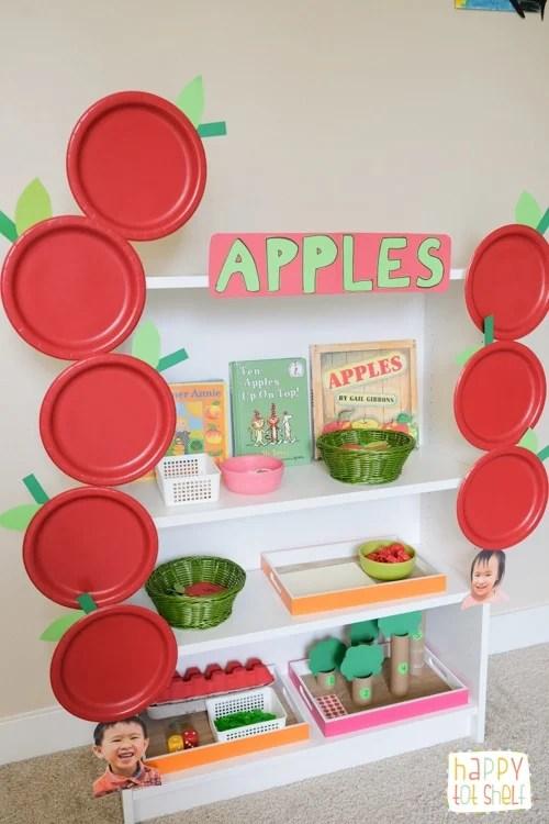 Apples theme shelf for kids