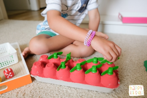 Apple theme fine motor and counting activity