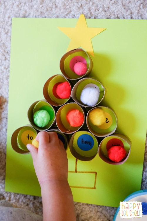 TP roll Christmas tree color matching activity