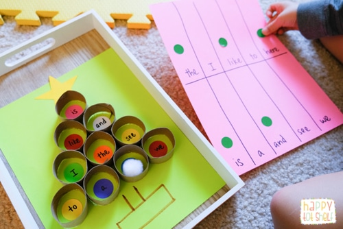 TP roll Christmas tree sight word matching activity