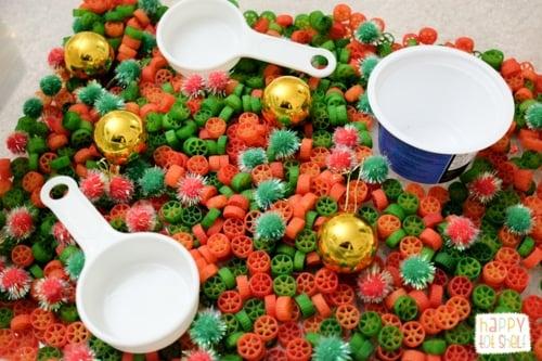 Christmas theme pasta sensory bin