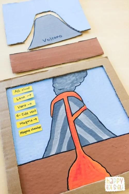 Parts of a Volcano DIY Cardboard Puzzle