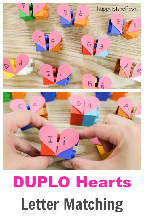 Duplo Hearts Letter Matching Activity for Preschoolers