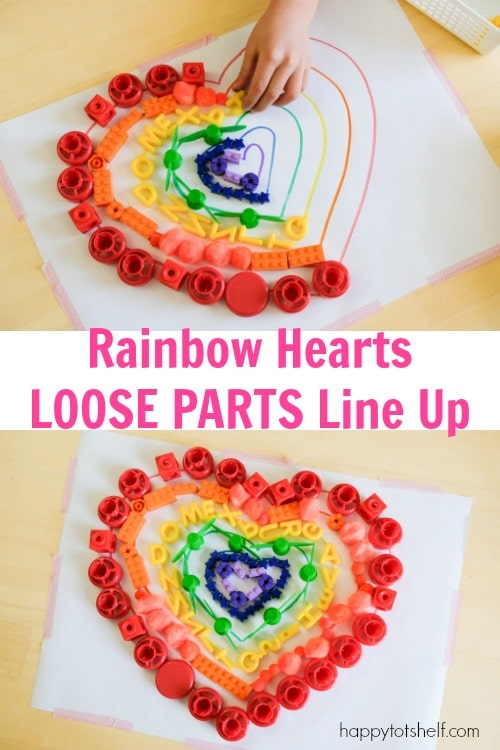 Rainbow Hearts Loose Parts Line Up - A fine motor, color matching and pre-writing activity for preschoolers
