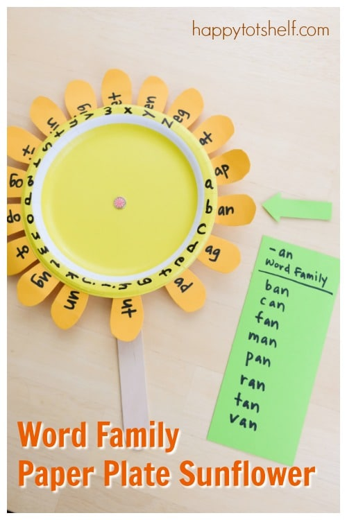 Fun Word Family Activity for Preschoolers - A Word Family Paper Plate Sunflower