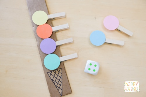 Learn Colors and Counting with this Cute Clothespin Ice Cream
