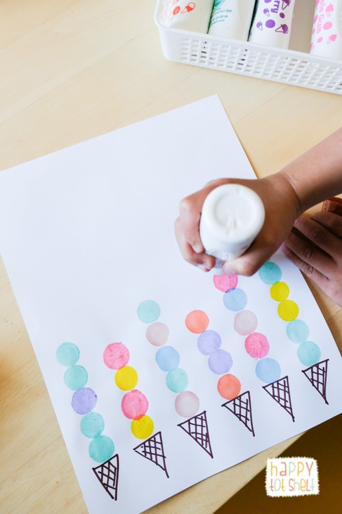 Using dot paint as ice cream scoops to explore patterns