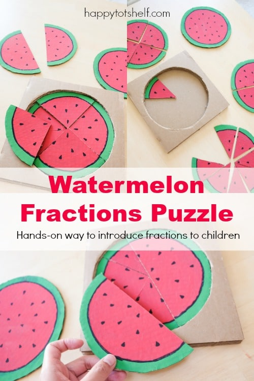 Watermelon puzzle for preschoolers to learn fractions