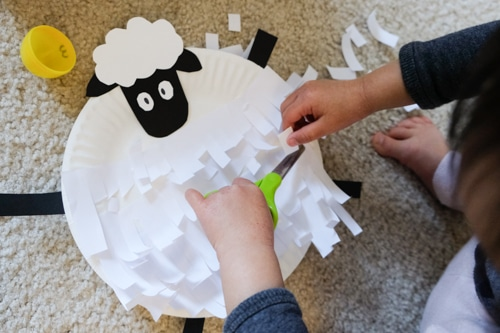 Paper Plate Sheep Shearing Cutting Activity for Kids