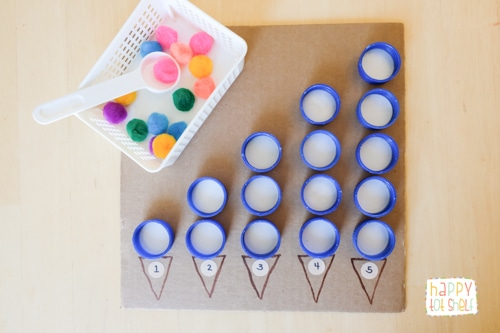 Counting Activity for Toddlers with Bottle Caps