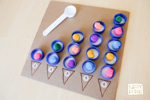 A DIY bottle caps counting board